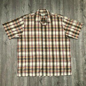 VTG Haband Beige Red Green Plaid S/S Casual Shirt